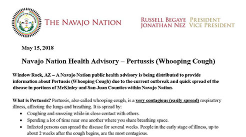 Navajo Nation Health Advisory – Pertussis (Whooping Cough)